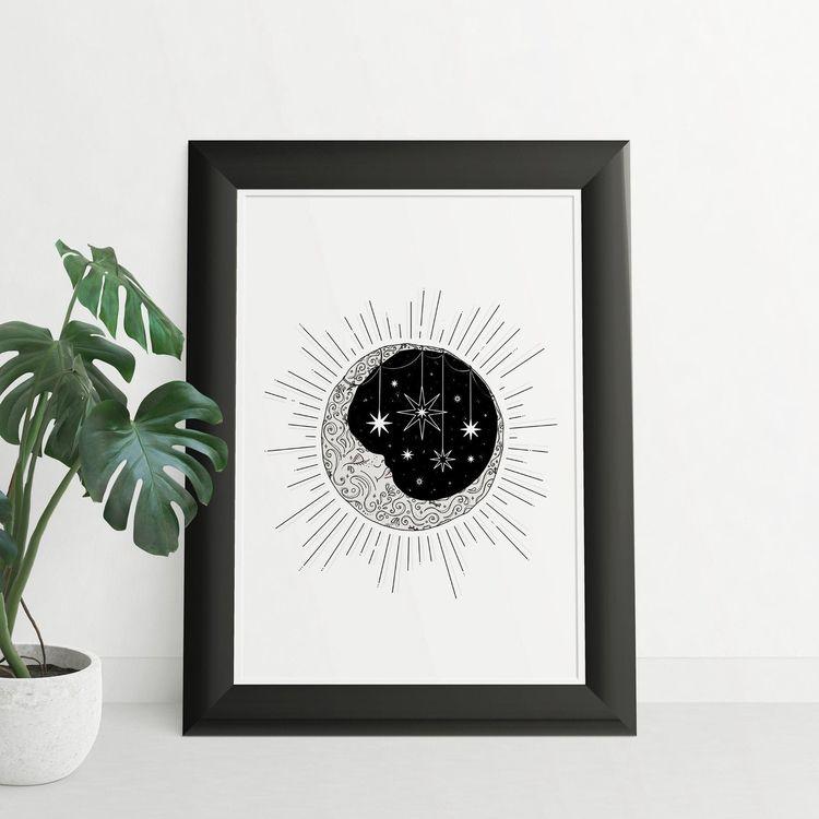 Moon Stars Print range sizes 🖤 - keyleygrahamdesigns   ello
