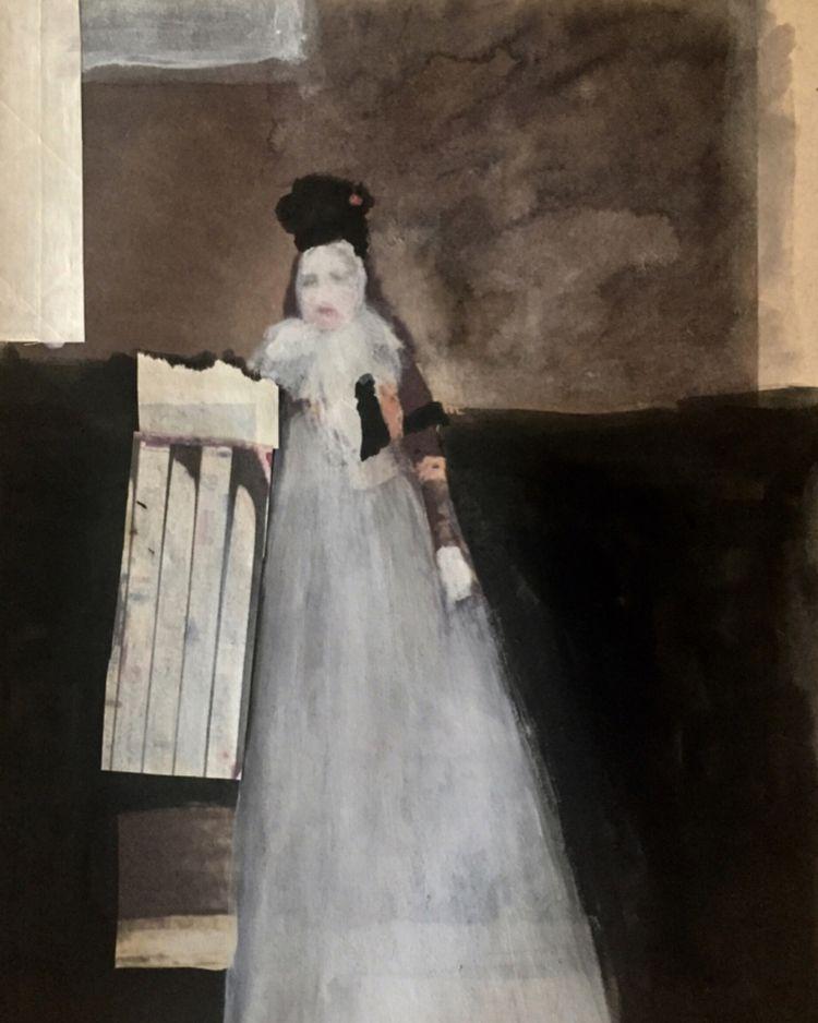 .ghost portrait . gouache paper - noellemaline   ello