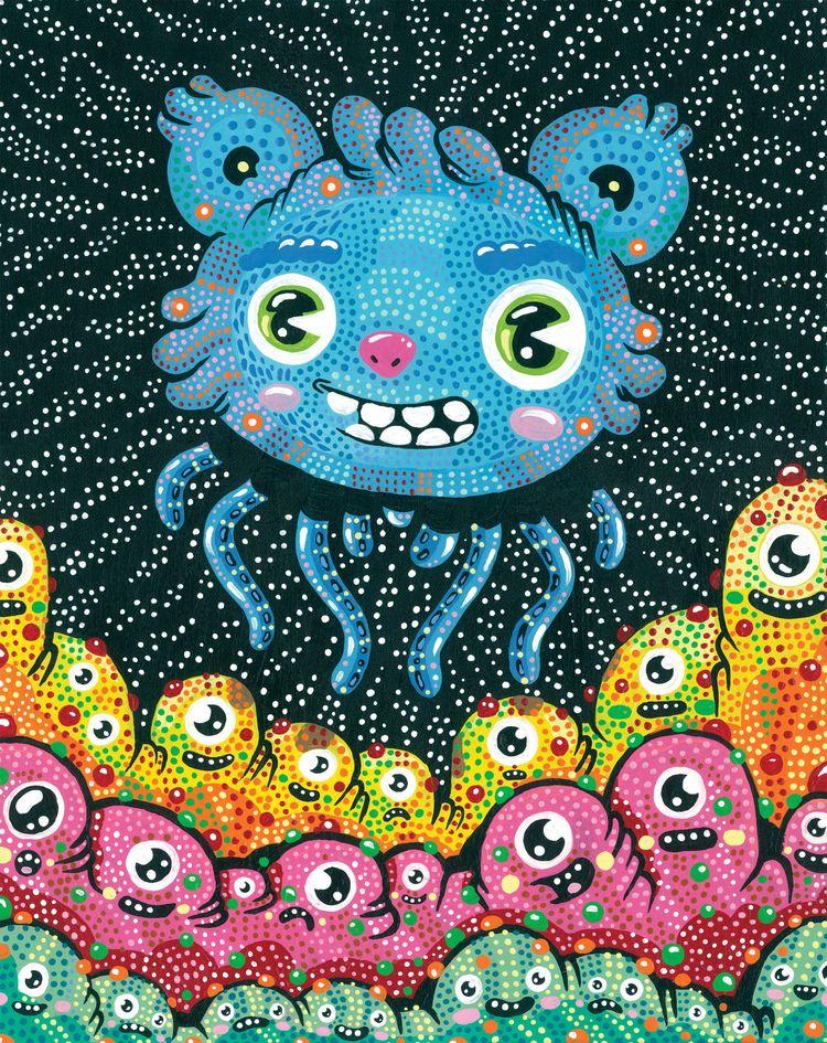 Visitors - acrylic canvas - illustration - warholbot   ello