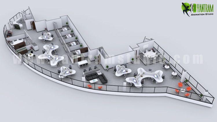 Modern 3D Office Floor Plan Con - yantramstudio | ello