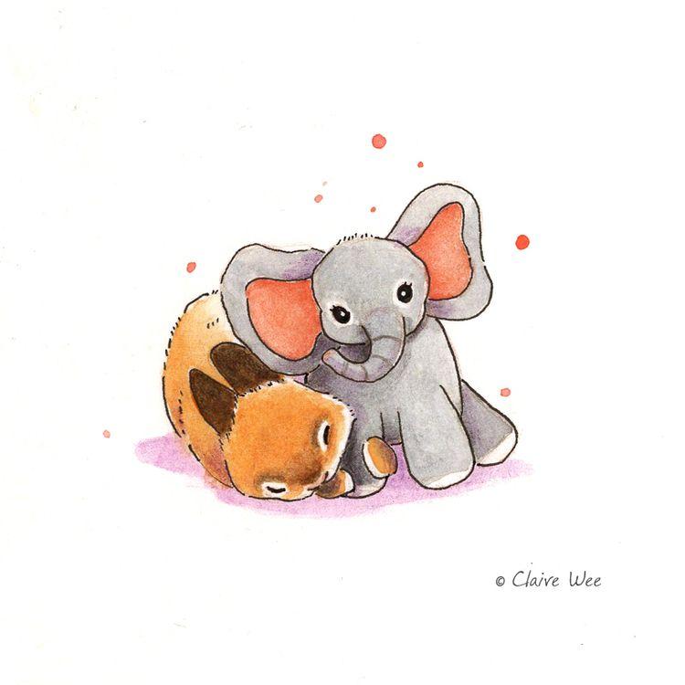 cuddle - bunny, illustration, elephant - j0eyg1rl | ello