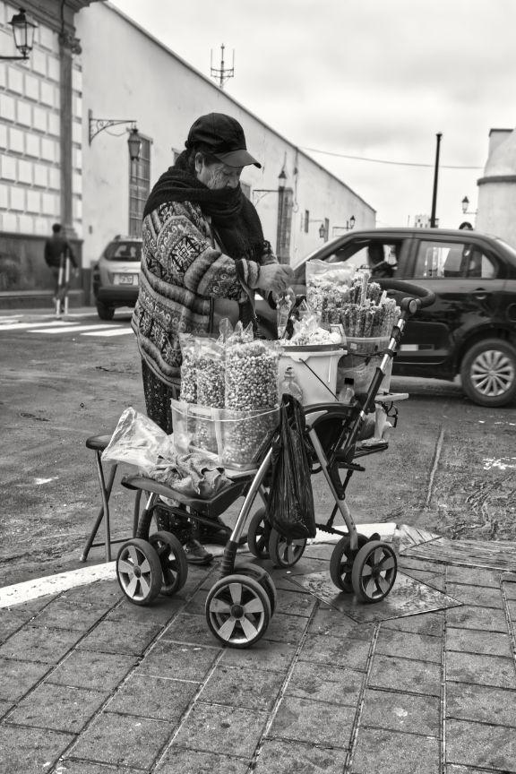 Street vendor Trujillo Peru - bnw - janconphotography | ello