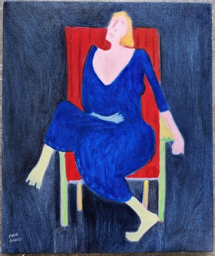 Blue Woman, Red Chair oil/canva - markbarry | ello