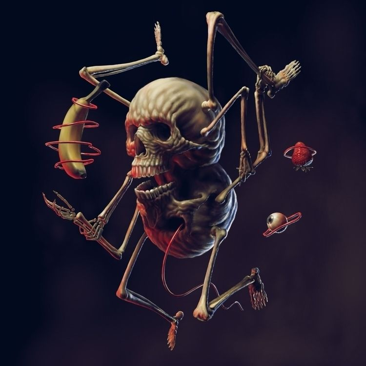 Skull Man Float. Digital painti - nicksheehy | ello