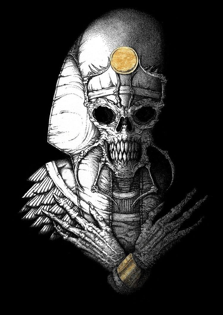 Alien pharaoh ink acrylic gold - juliusllopis | ello