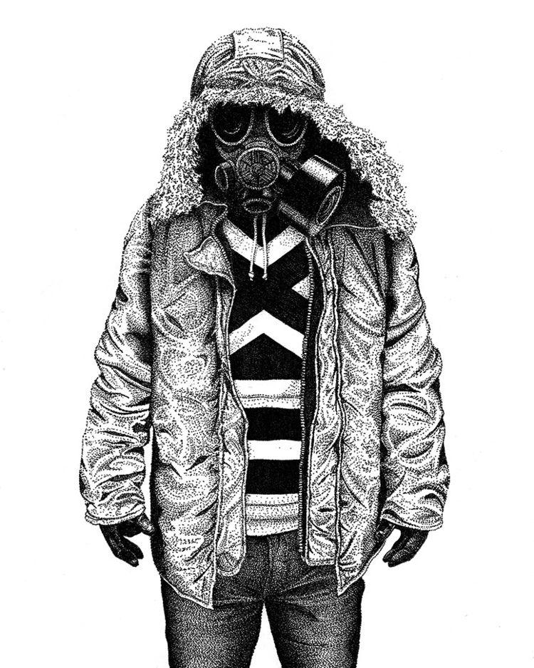 illustration, gasmask, pointillism - herre84 | ello