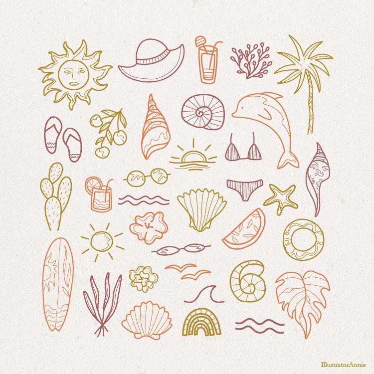Summer Vibes Vector Graphic Ele - illustratorannie   ello