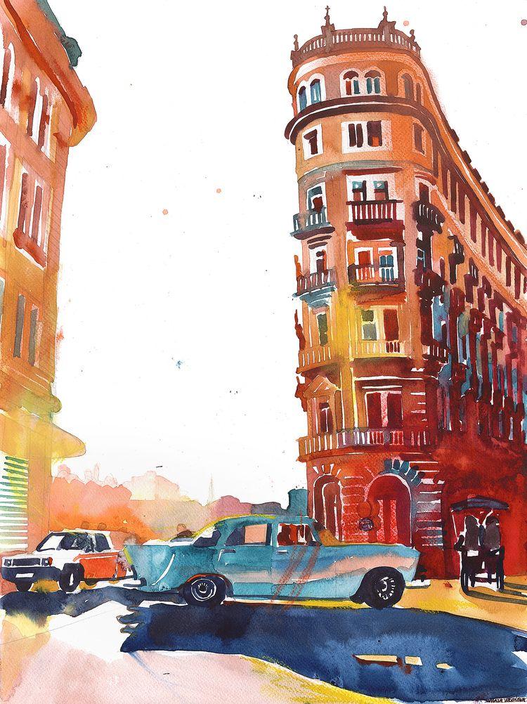 Havana building facade watercol - takmaj | ello
