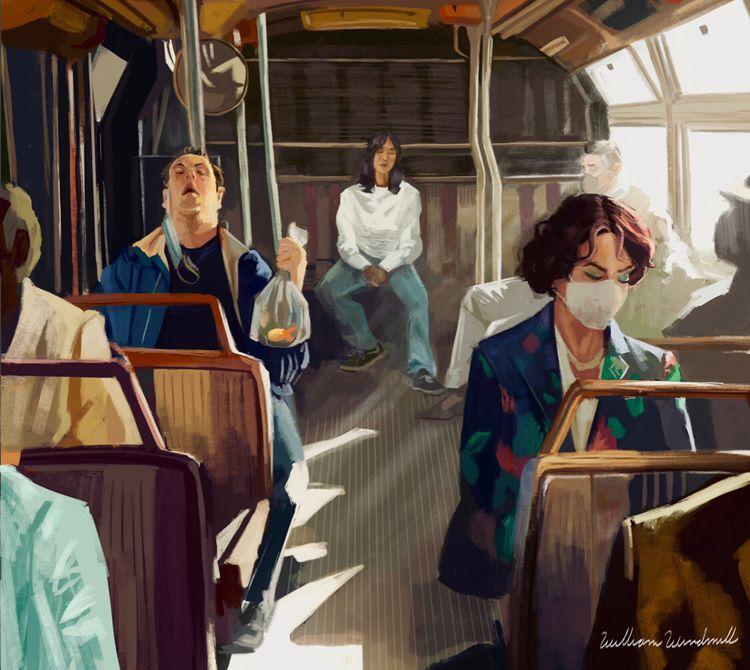 Covid time bus - covid, art, painting - sirwilliamwindmill | ello
