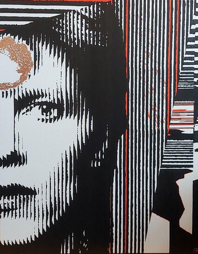 Bowie (2021) - Acrylic rose gol - elizarockerart | ello