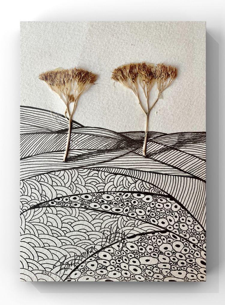 Twin Trees (5X7 pen ink collage - blibbysteinmann | ello