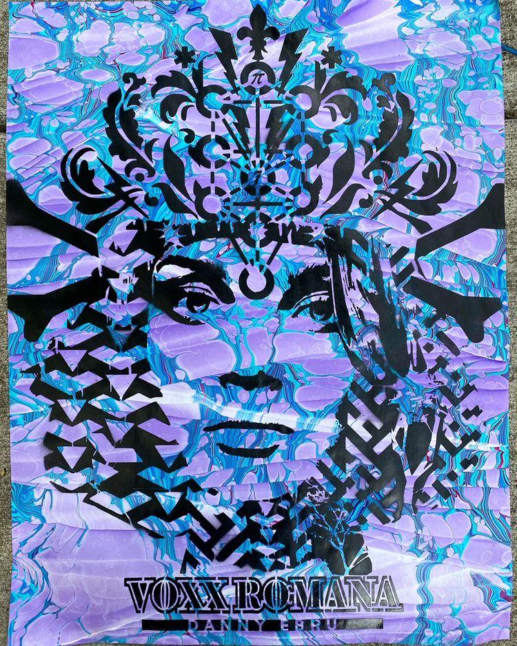 Stencil marbled paper, collabor - voxxromana | ello