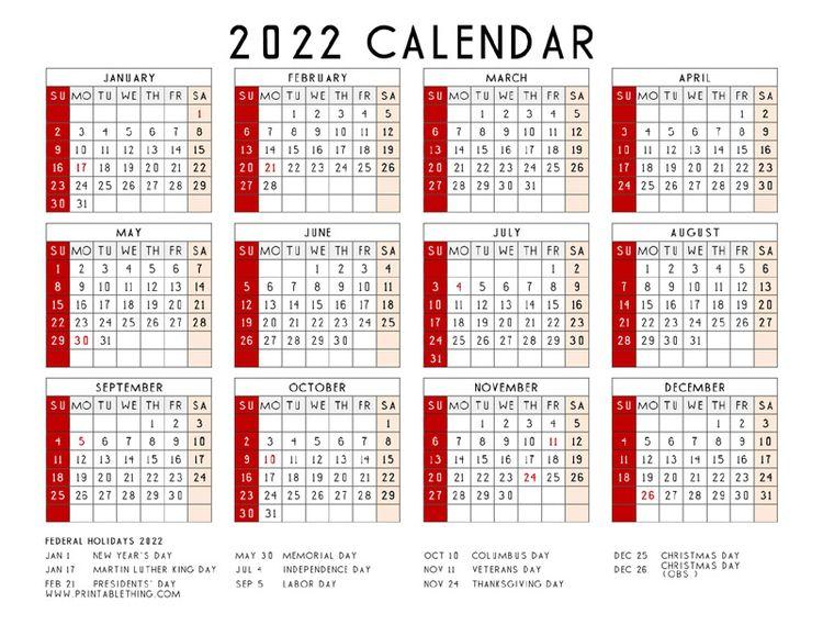 2022 Printable Calendar Page ea - printablething | ello