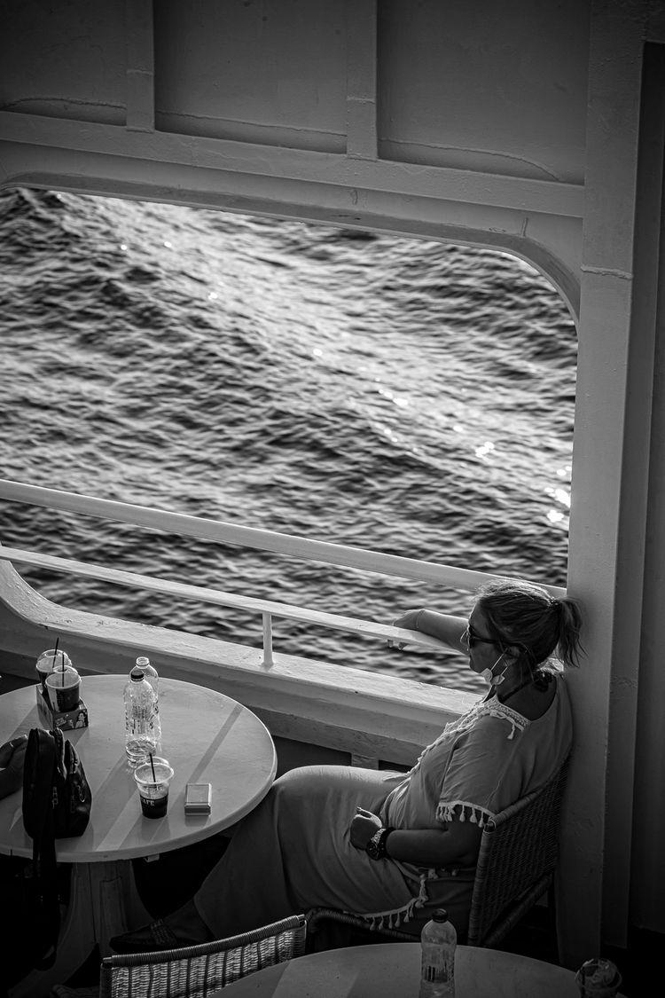 Summer travel ferry - Greece, woman - lefterisbetsis   ello