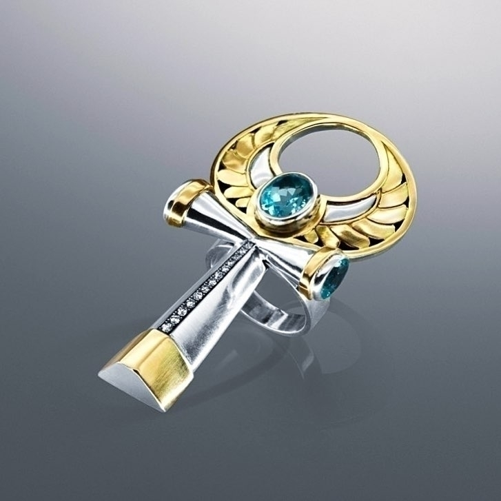 Ring  this Key of Life set with diamonds and coloful stones, in 18kt gold and sterling silver. Ankh.jpg