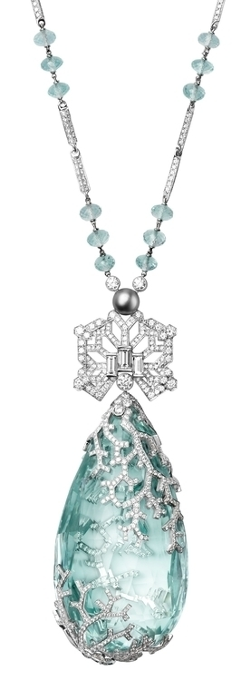 Necklace Cartier Platinum, one 236.27-carat aquamarine, one natural pearl, facetted aquamarine beads, baguette-cut diamonds, brilliants..jpg