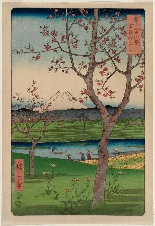 Blossoms at the outskirts of Koshigaya, by Hiroshige (36 Views of Mt. Fuji) small.jpg