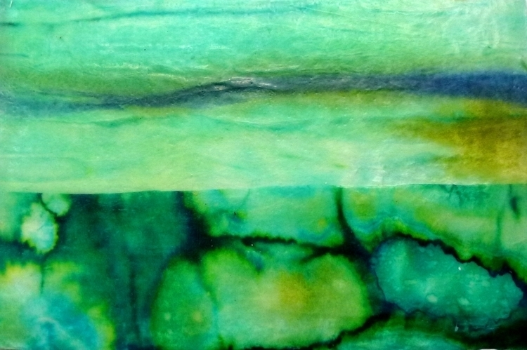 Mo Godbeer,'Lagoon series'.2012,encaustic on dyed papers on watercolour paper,10x15cms(postcard).JPG