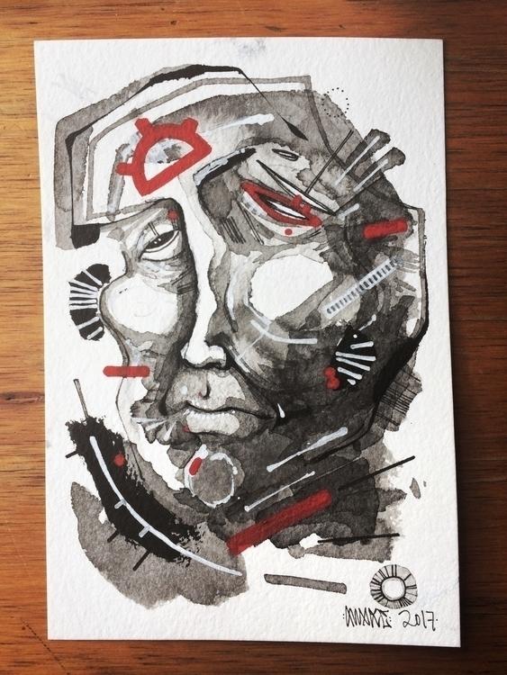 """Spent"" 4x6 India ink acrylic p - awake_pdx   ello"