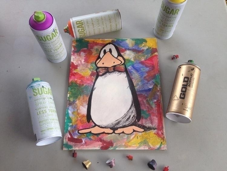 """Opus penguin"" Mixed media canv - papicarlos | ello"