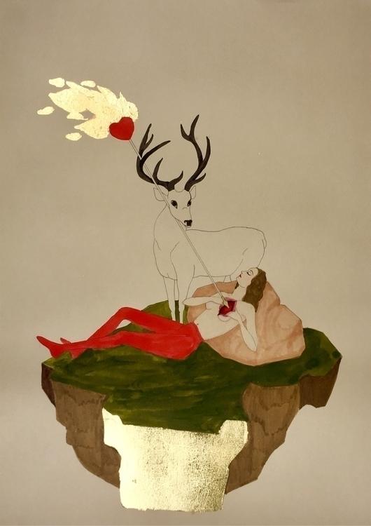 kunst goldleaf dreamscape flami - lorettamae | ello