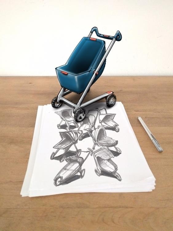 Stroller Sketch industrialdesig - mattmarchand | ello