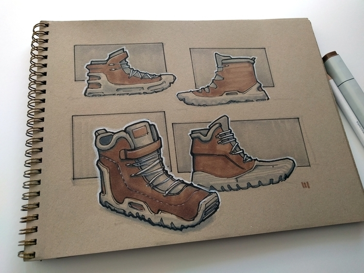 Hiking Boots Sketch industriald - mattmarchand | ello