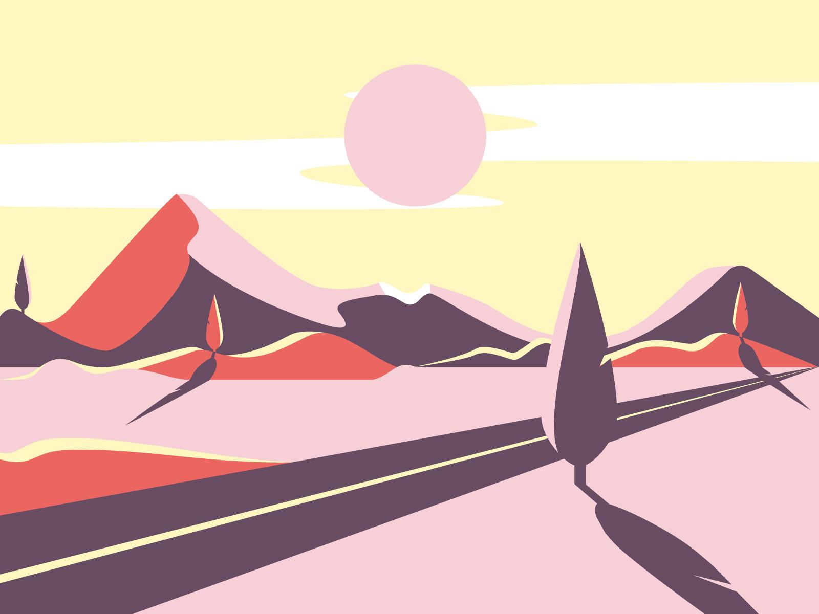 Sunset. 2D vector illustration  - gunimation | ello