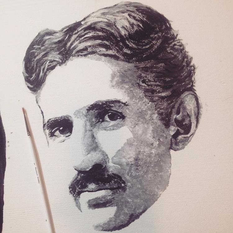 Nicola Tesla acrylics painting  - boemo | ello