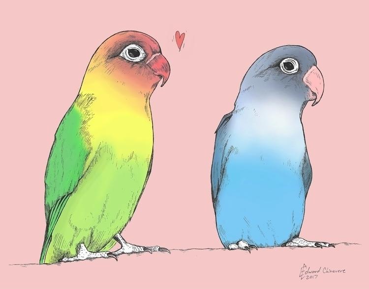 Lovebirds Color. Art print Etsy - mydiagonallife | ello