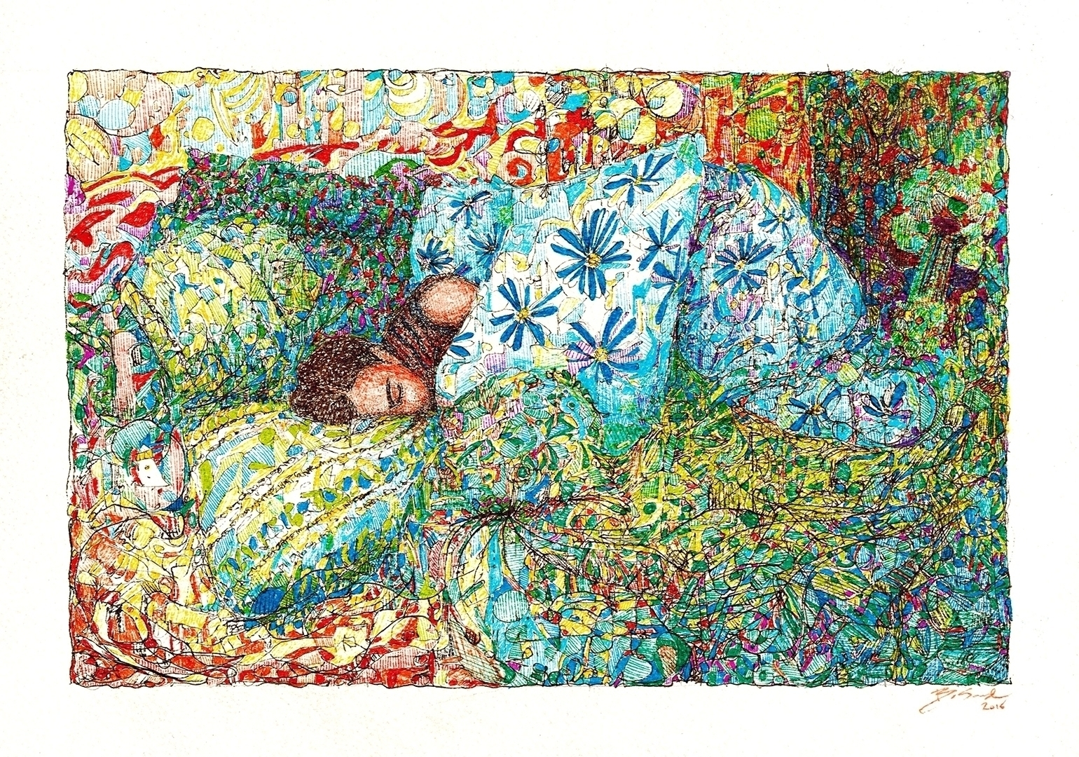 sleeping colored felt tip pens  - honungen | ello