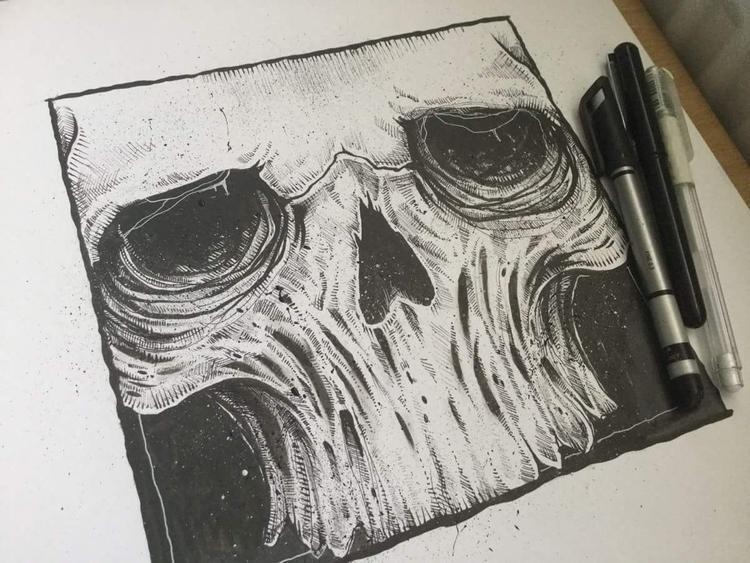 skull illustration practicing a - blvckink | ello