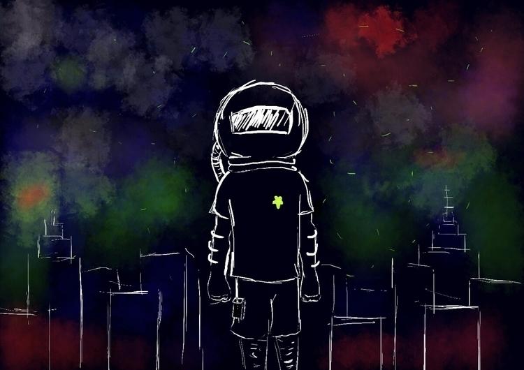 :) digitalart astronaut art - zeroape   ello