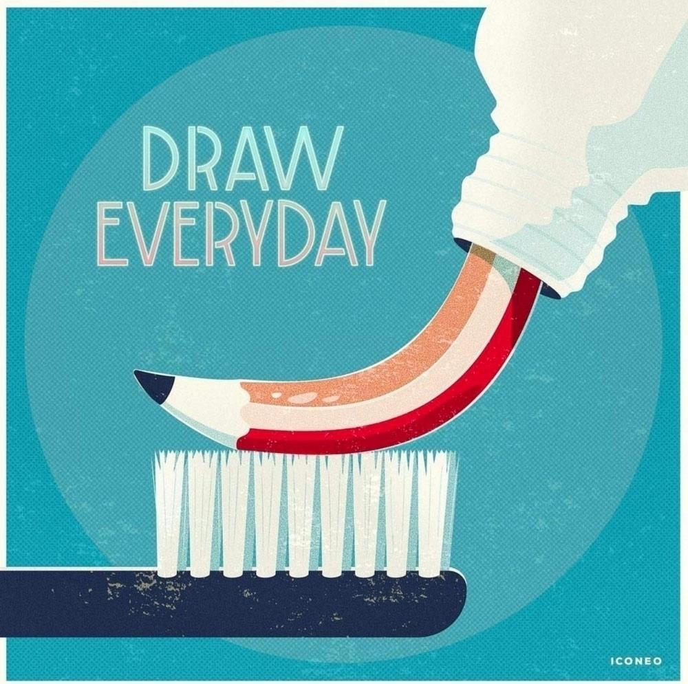 Draw everyday. drawing motivati - iconeo | ello