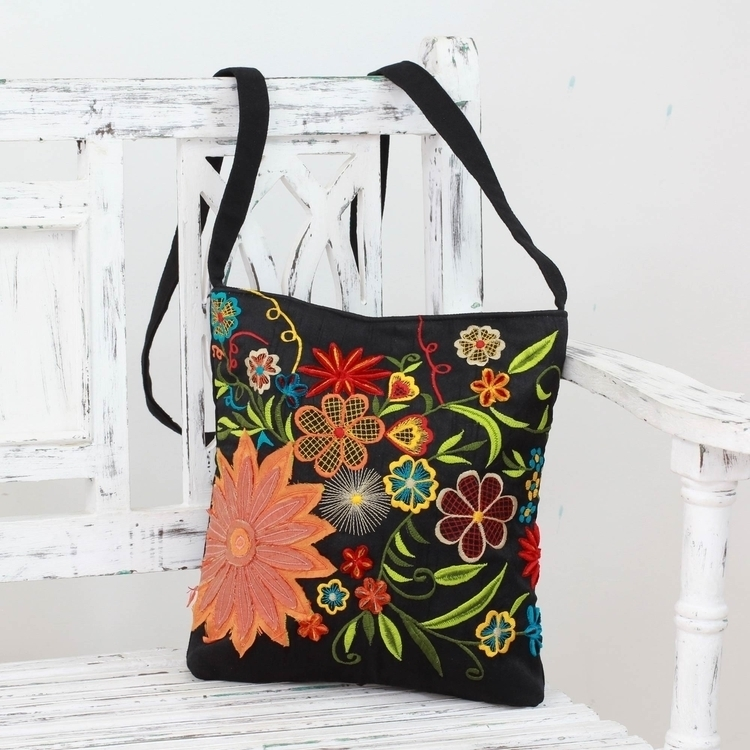 Floral Embroidery Black Cotton  - uniquecollectiblesgifts | ello