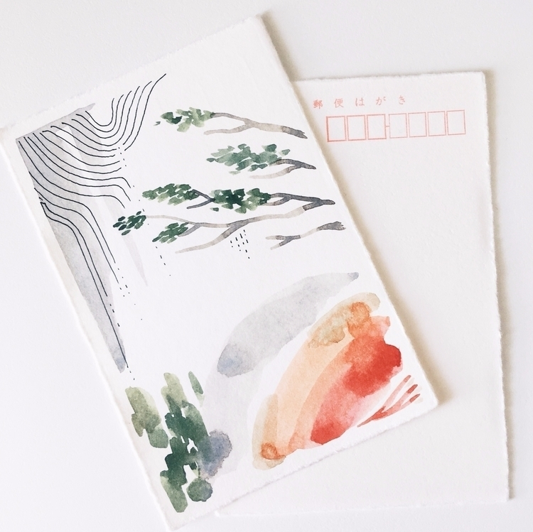 sneak peek hand-painted postcar - patternsandportraits | ello