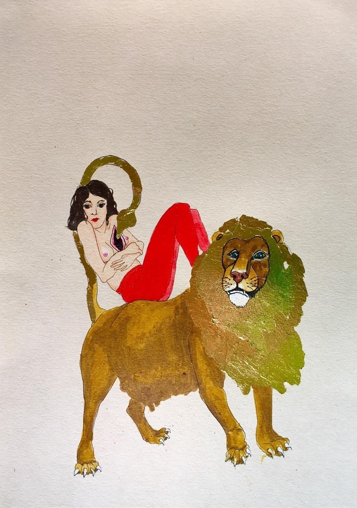 kunst woundedheart lion redstoc - lorettamae | ello