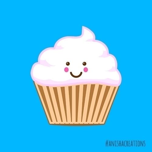 Cupcake illustration cartoons a - anishacreations | ello