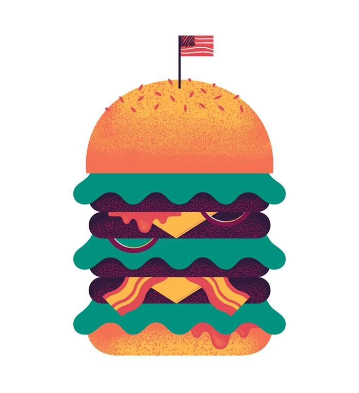 Burger illustration design artw - alconic | ello