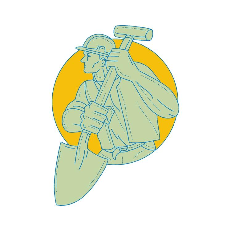 Construction Worker Shovel Circ - patrimonio | ello