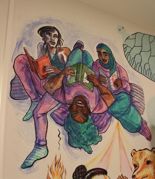 library work wallpainting ! mur - mikkohel | ello