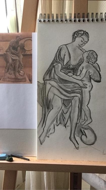 Testing charcoal drawing athome - segomuxu | ello