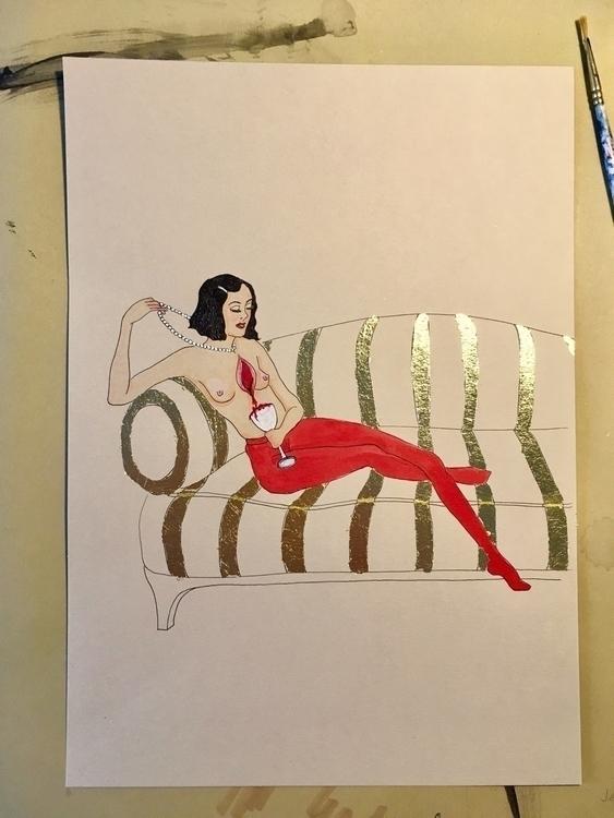 kunst drawing goldleaf woundedh - lorettamae | ello