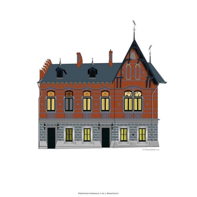 Maastricht drawing nice buildin - peterscheele | ello