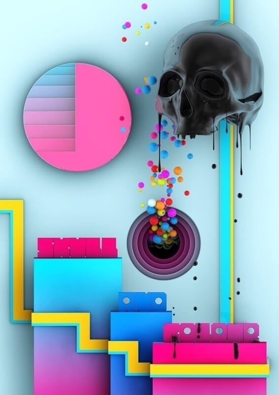 Skull colors - skulltoons, lowbrow - theodoru | ello