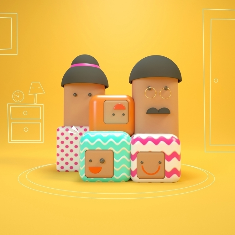 Le Happy Cube Family - visualdiary - onehourgallery | ello