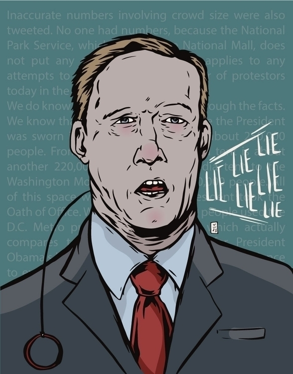 Paid Lie, Sean Spicer - illustration - thomcat23 | ello