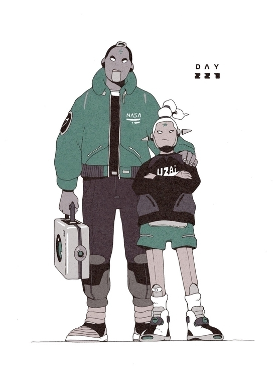 Day 227/365: Androids Meet - illustration - 1sles | ello