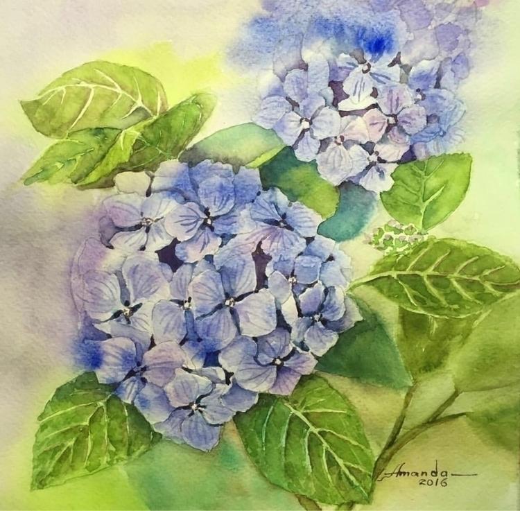flower - hydrangea, blue, watercolour - farfallablu | ello