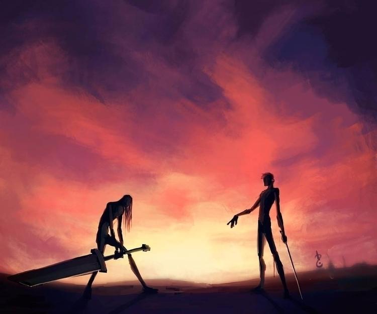 duel dawn - sky, clouds, fight, swords - david-rivera | ello